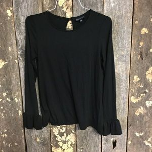 Bobeau Bell Sleeve Black Top